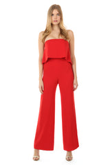 MOORE RED  STRAPLESS JUMPSUIT