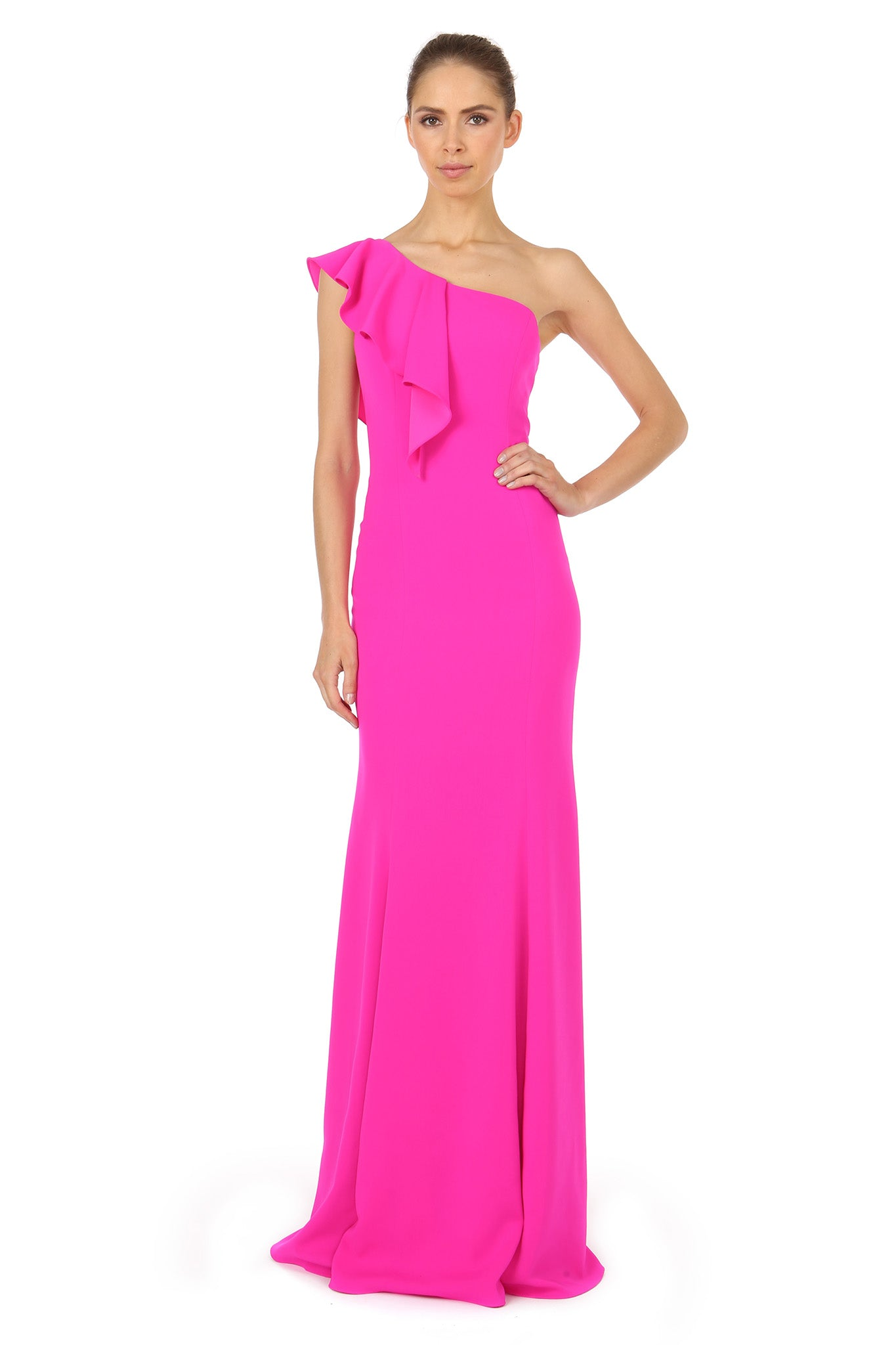 Jay Godfrey One-Shoulder Fuchsia Gown - Front View