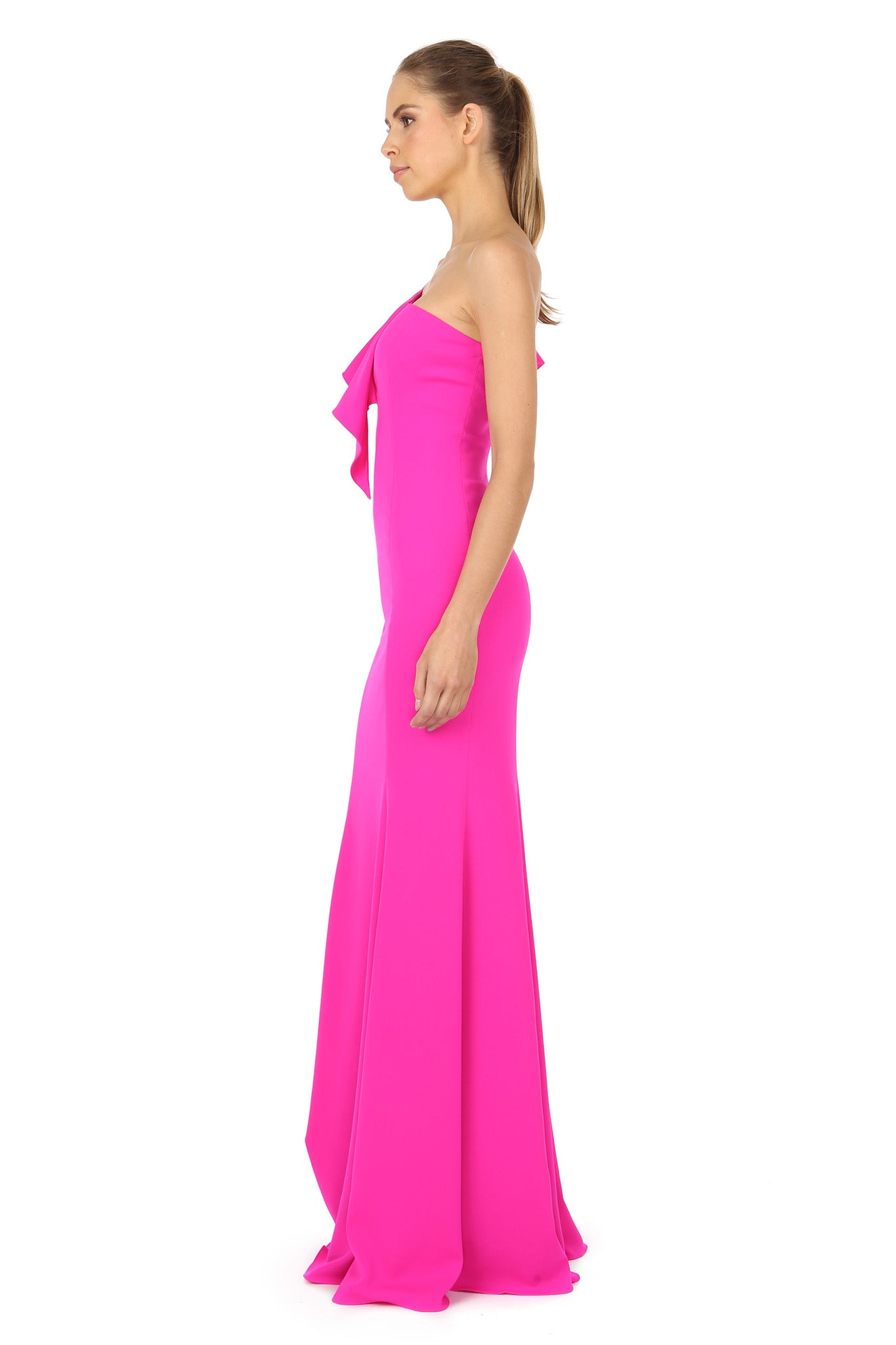 Jay Godfrey One-Shoulder Fuchsia Gown - Side View