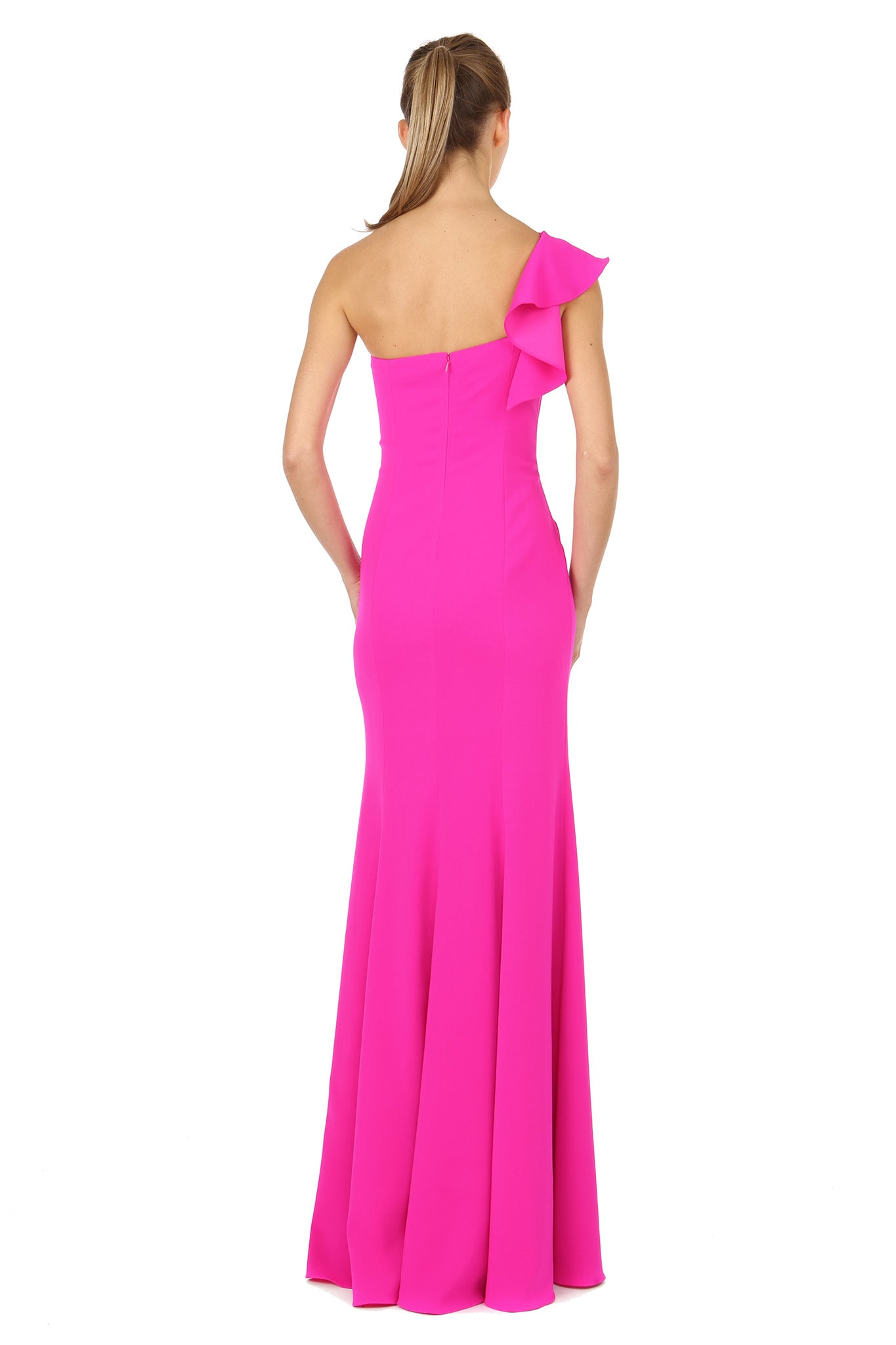 Jay Godfrey One-Shoulder Fuchsia Gown - Back View