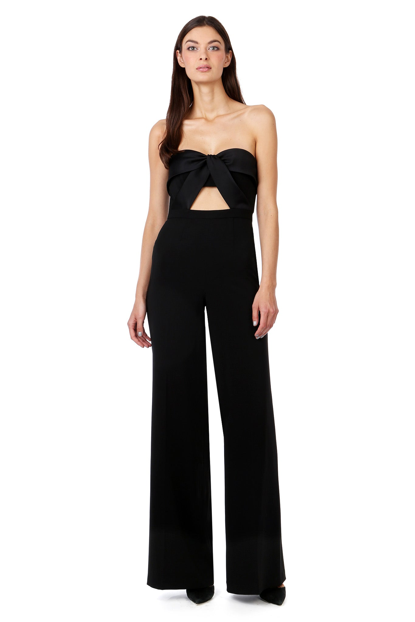 Black Silky Bandeau Strapless Jumpsuit - Front View