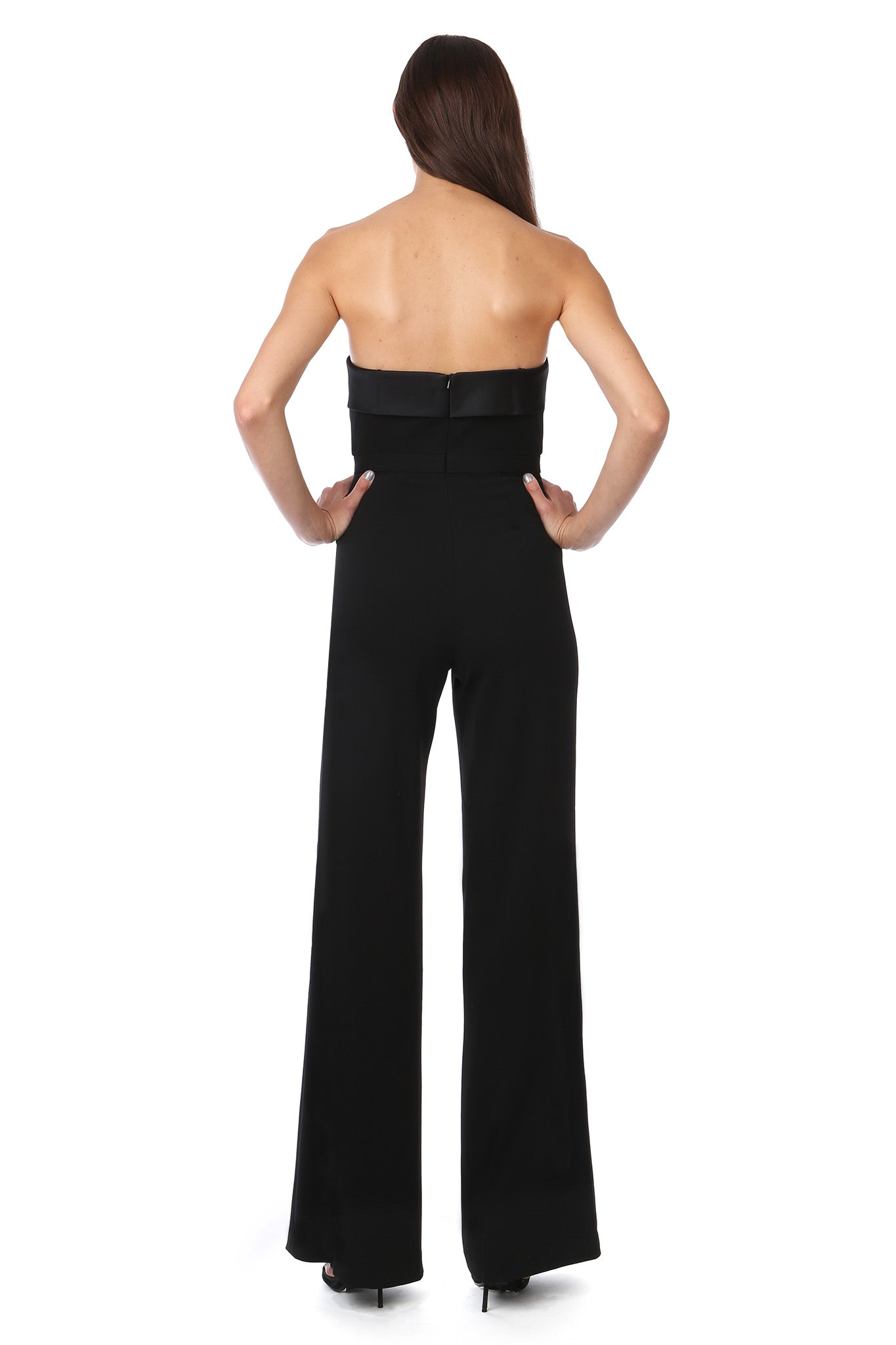 Black Silky Bandeau Strapless Jumpsuit - Back View