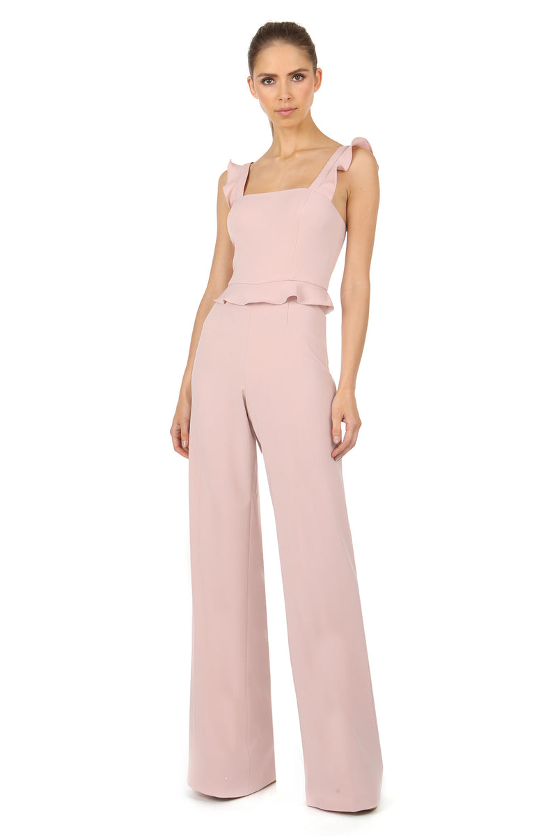 Jay Godfrey Blush Jumpsuit with Ruffle Straps - Front View