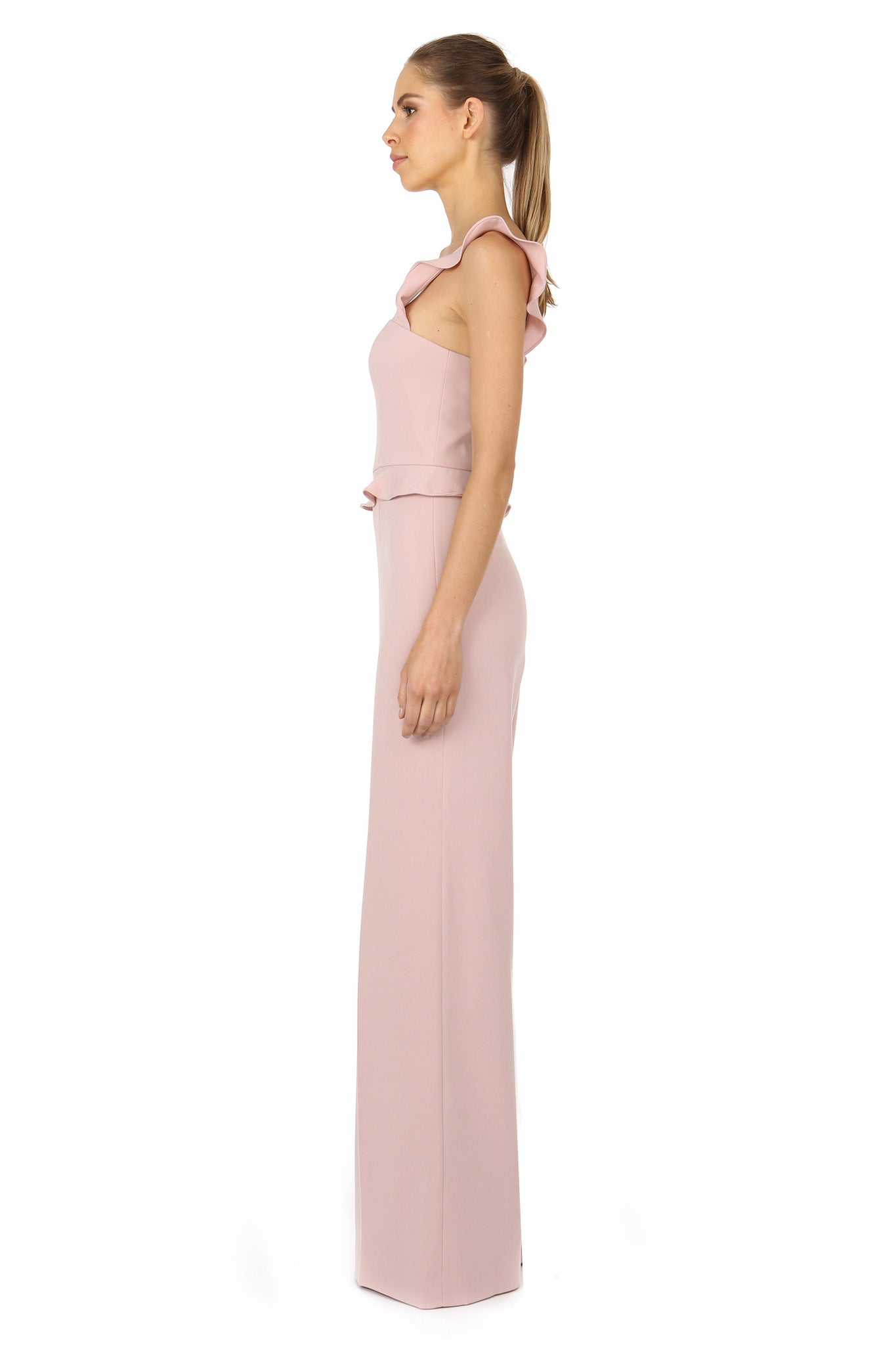 Jay Godfrey Blush Jumpsuit with Ruffle Straps - Side View