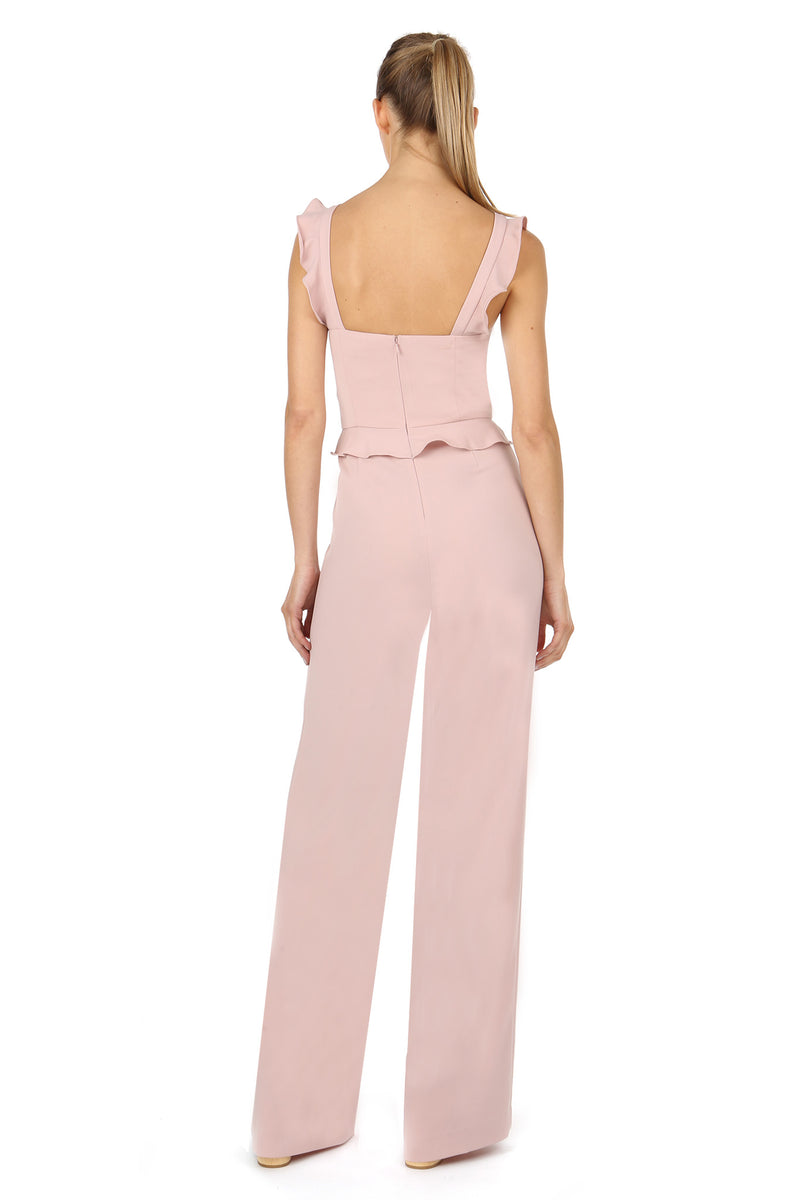 Jay Godfrey Blush Jumpsuit with Ruffle Straps - Back View
