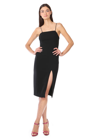 Black Tie-Back Spaghetti Strap Midi Dress- Front View