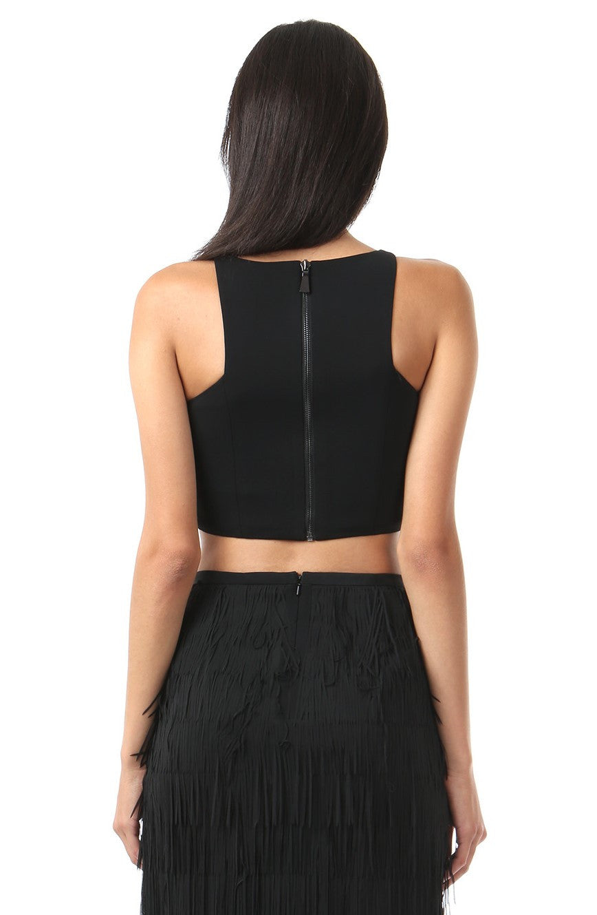 Jay Godfrey Plain Black Crop Top - Back View