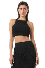 Jay Godfrey Plain Black Crop Top - Front View