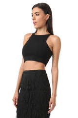 Jay Godfrey Plain Black Crop Top - Side View