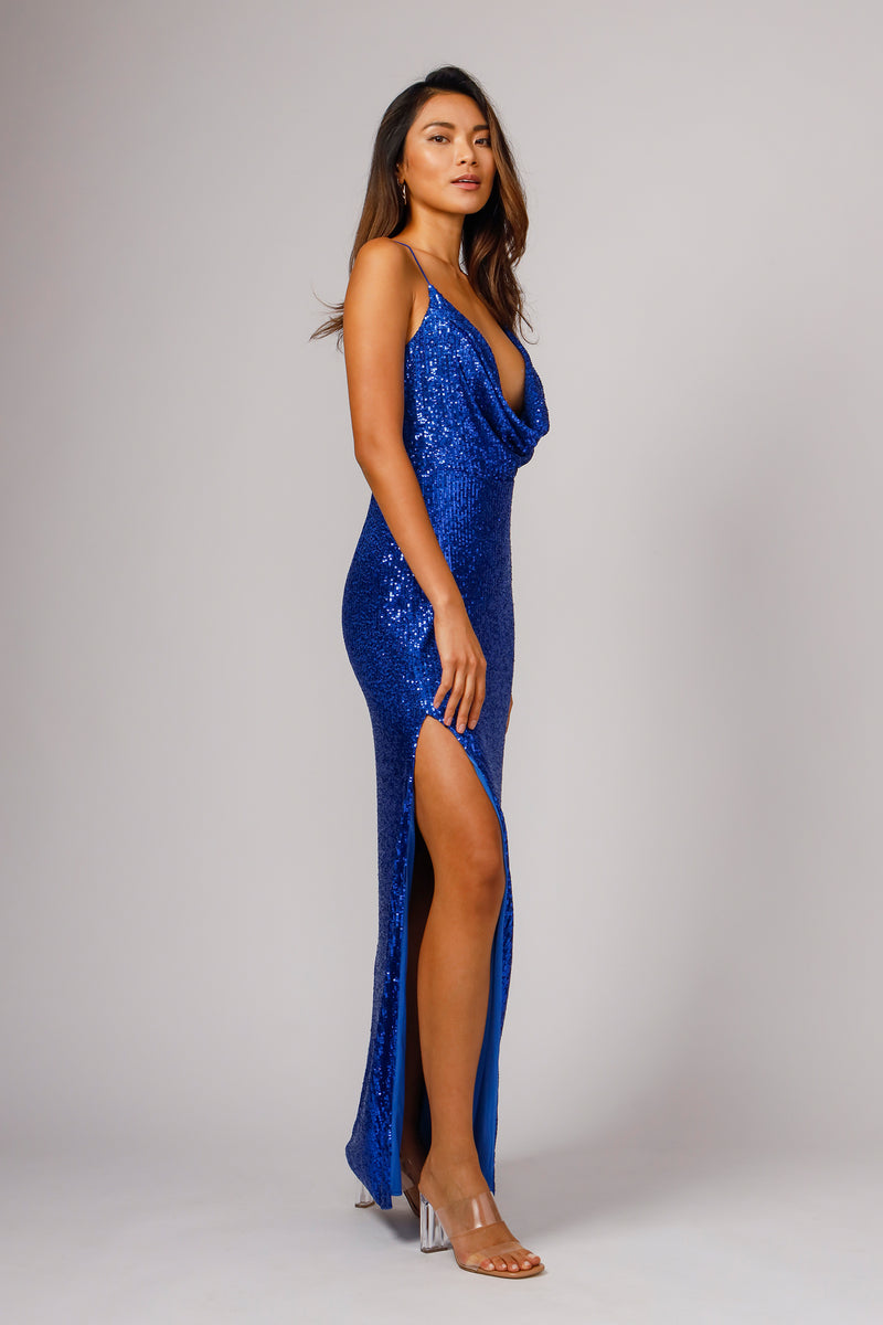 MILENA COWL NECK SEQUIN GOWN