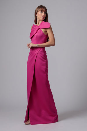 MUIR ONE SHOULDER BOW GOWN