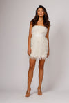 REMI STRAPLESS FEATHERED MINI DRESS