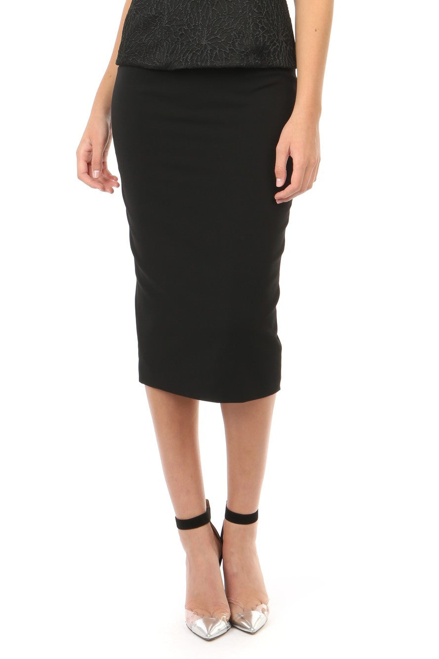 Jay Godfrey Black Stretch Pencil Skirt - Front View