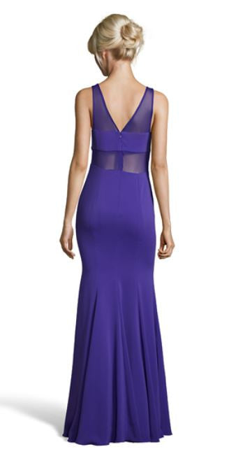 ROGER BLUE SHEER PANELED GOWN - FINAL SALE