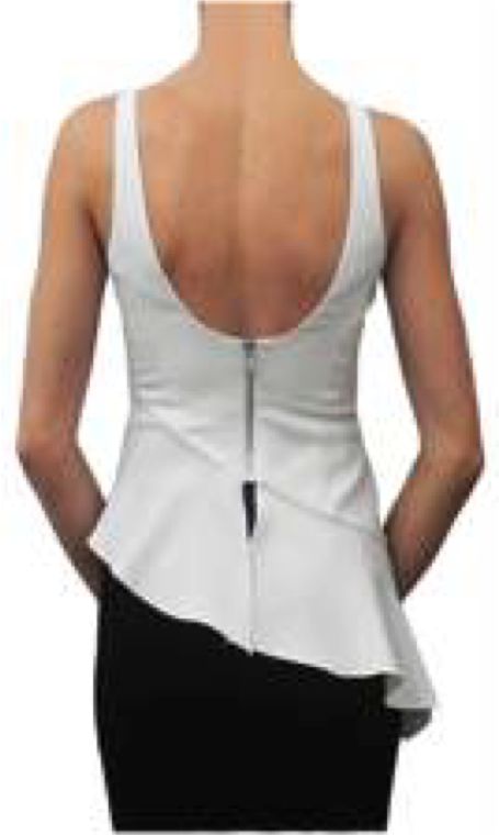 Jay Godfrey Ivory Peplum Top - Back View