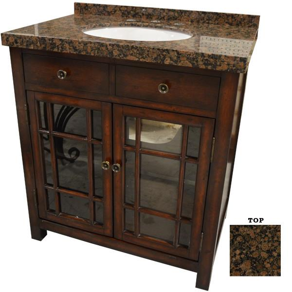 "AFD Brown Stone Vanity 32"" Single Sink Freestanding Bathroom Vanity"