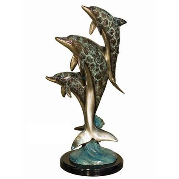 AFD 3 Dolphins on Marble in Special Patina Décor AFD Multi-Colored