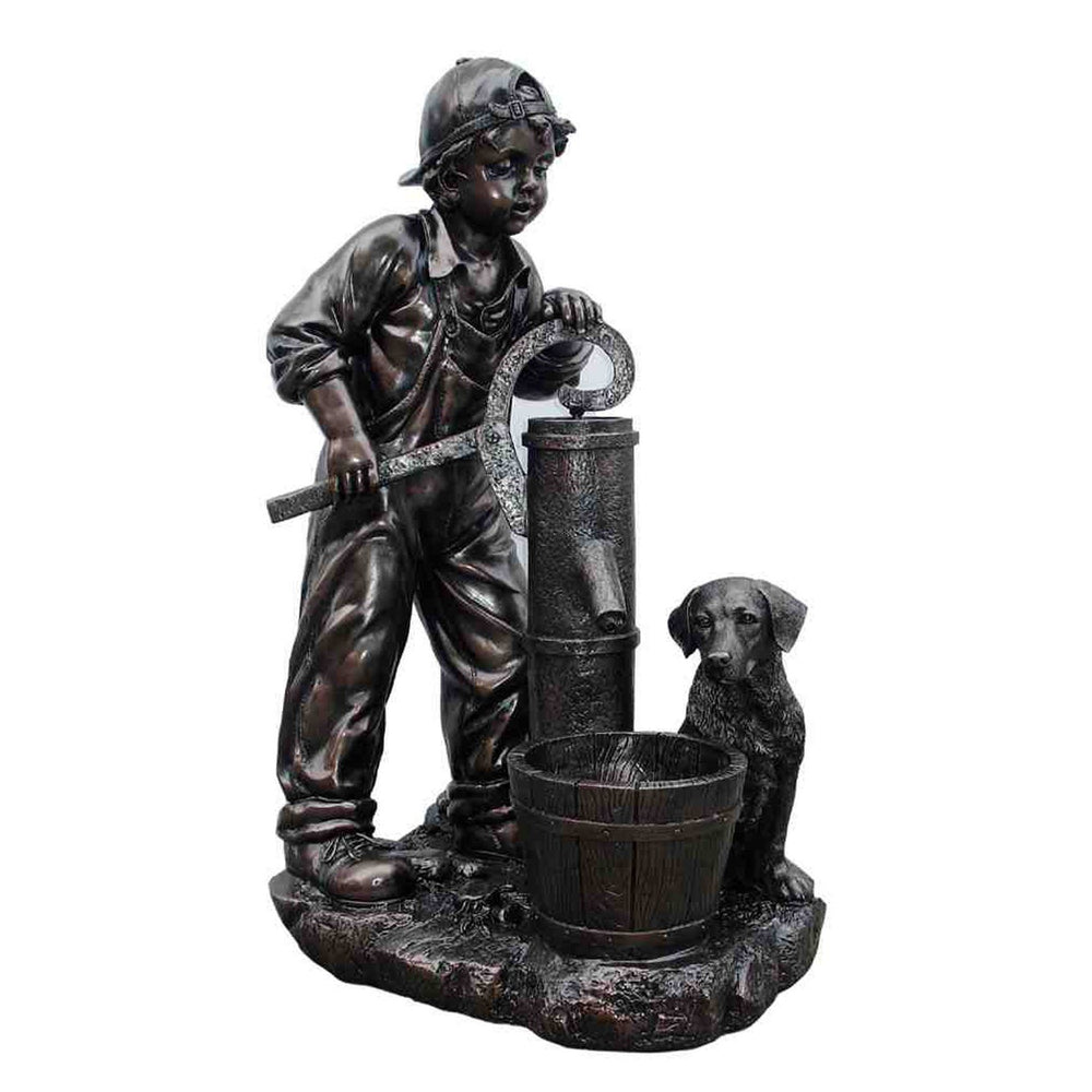 AFD Boy Pumping Water Fountain Décor AFD Bronze