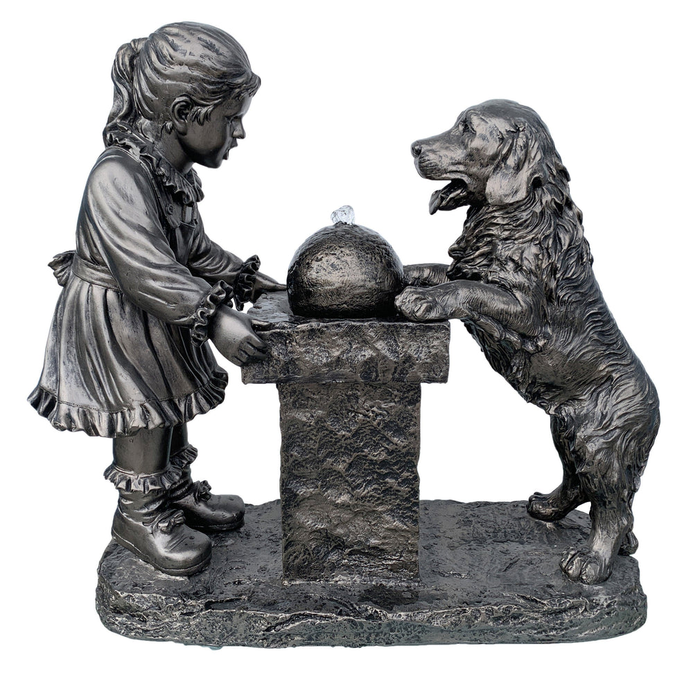 AFD Small Girl and Dog Founatin Décor AFD Bronze