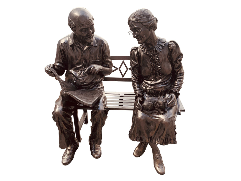 AFD Grandma and Grandpa on Bench Benches AFD Bronze