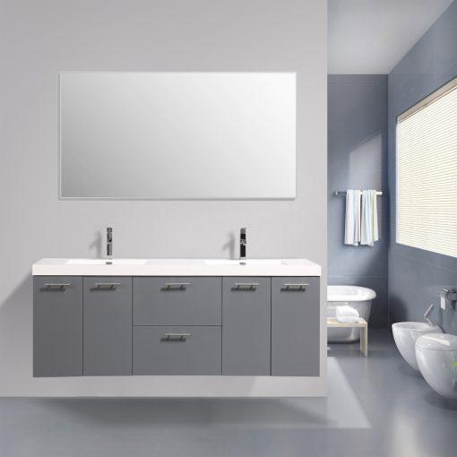 Eviva Luxury 84 inch bathroom vanity with integrated acrylic sinks Vanity Eviva Gray