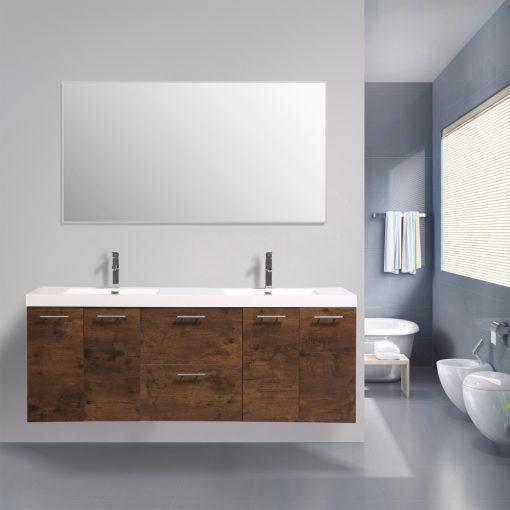 Eviva Luxury 84 inch bathroom vanity with integrated acrylic sinks Vanity Eviva Rosewood