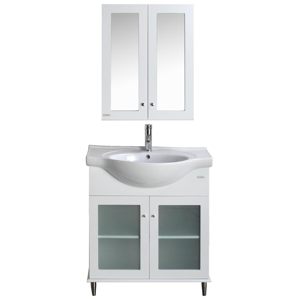 Eviva Tux® 36″ White Transitional Bathroom Vanity with White Integrated Sink Vanity Eviva