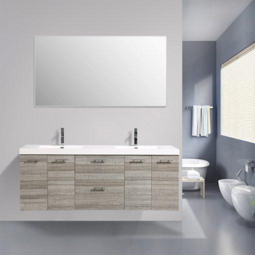 Eviva Luxury 84 inch bathroom vanity with integrated acrylic sinks Vanity Eviva Ash