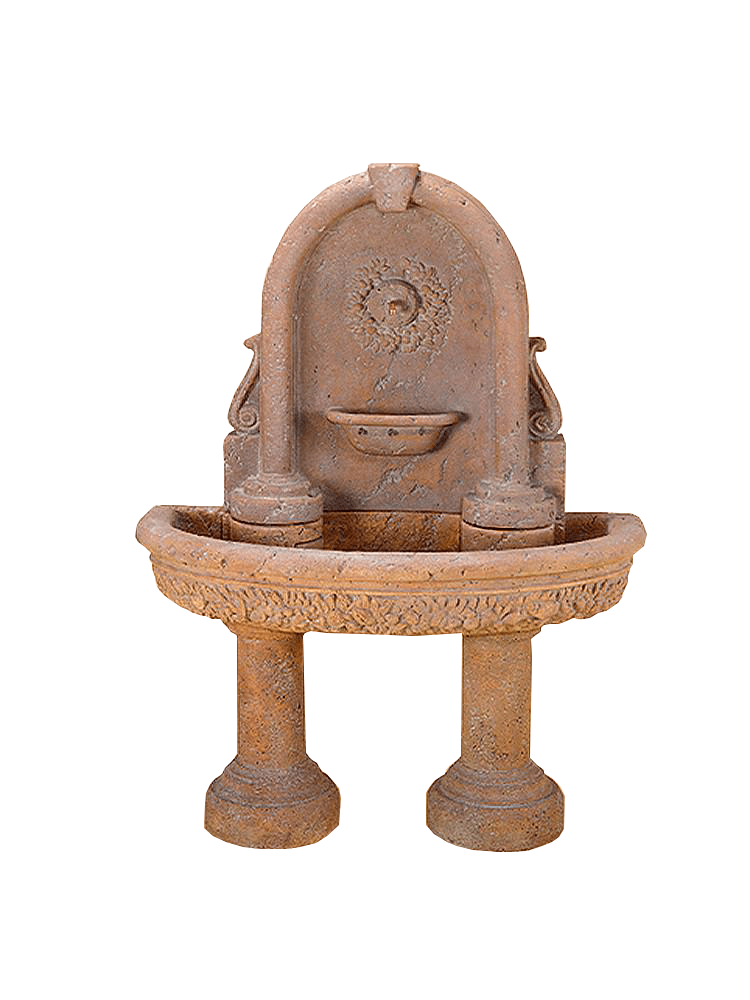 Robbiana Wall Cast Stone Outdoor Garden Water Fountain with 2 Pedestals and Spout Fountain Tuscan