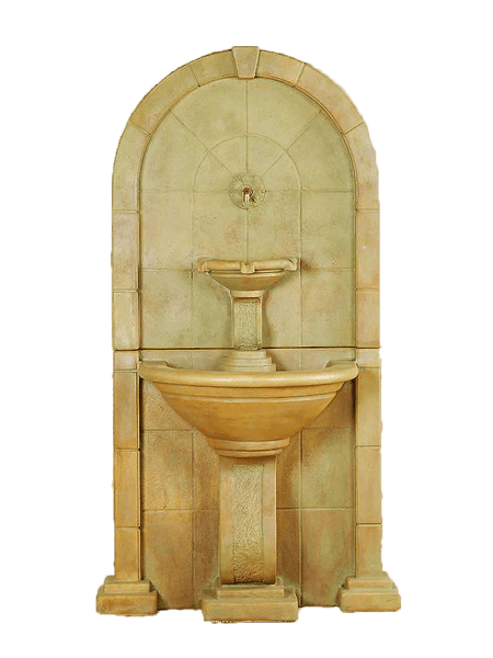 Amalfi Wall Cast Stone Outdoor Water Fountain With Spout