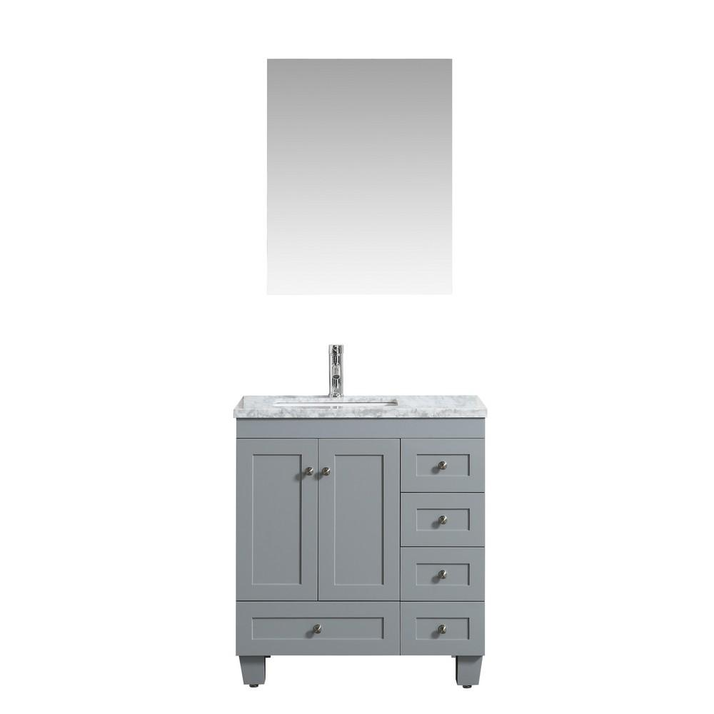 Eviva Happy 28″ x 18″ Transitional Bathroom Vanity w/ White Carrara Top Vanity Eviva Gray
