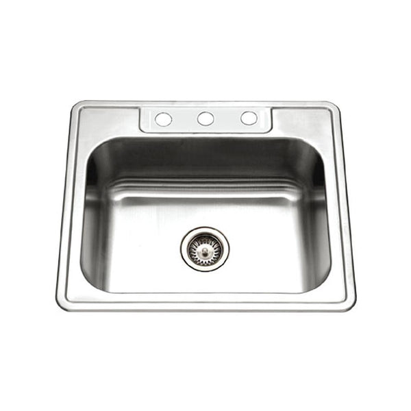 Houzer 2522-8BS3-1 Glowtone Series Topmount Stainless Steel Kitchen Sink, 8-Inch Deep
