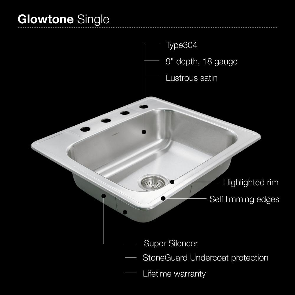 Houzer 2522-9BS4-1 Glowtone Series Topmount Stainless Steel 9-Inch Deep Kitchen Sink - Topmount Houzer