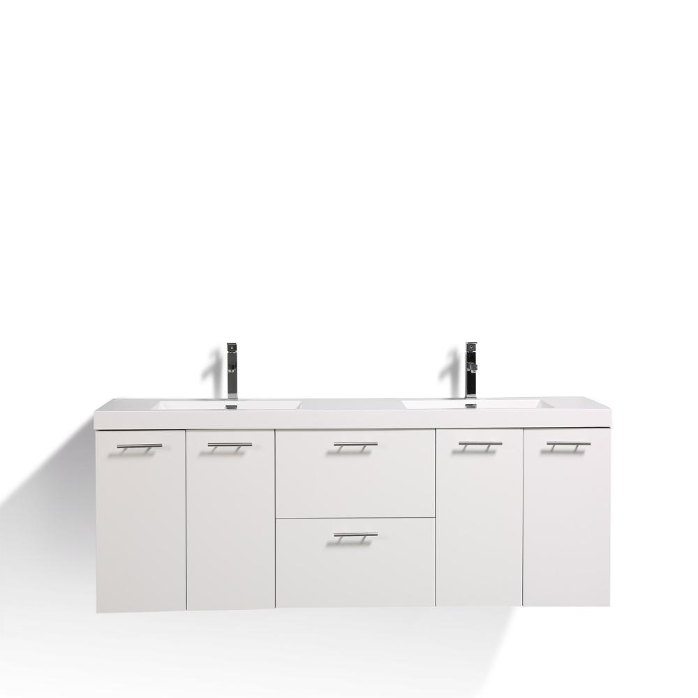 Eviva Luxury 84 inch bathroom vanity with integrated acrylic sinks Vanity Eviva White