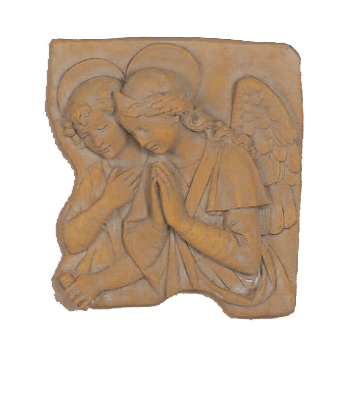 Angel and Tobias Plaque Cast   Stone Outdoor Asian Collection