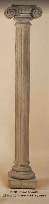 Ionic Column Cast Stone Outdoor Asian Collection Columns Tuscan
