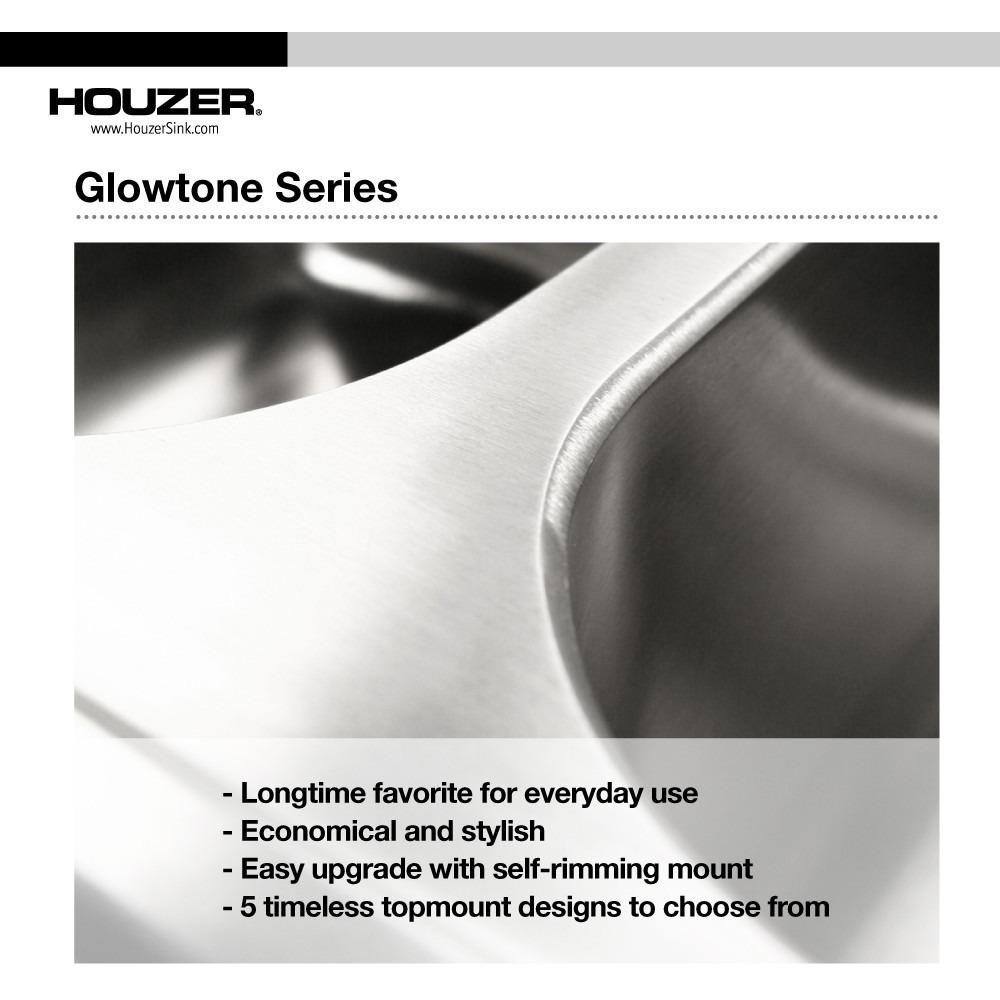 Houzer Glowtone Series Topmount Stainless Steel 4-hole 50/50 Double Bowl Kitchen Sink, 8-Inch Deep Kitchen Sink - Topmount Houzer