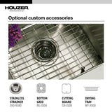 Houzer Glowtone Series Topmount Stainless Steel 4-hole 50/50 Double Bowl Kitchen Sink, 8-Inch Deep