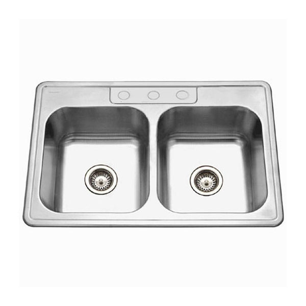 Houzer 3322-9BS3-1 Glowtone  Topmount Stainless Steel 3-hole 50/50 Double Bowl Kitchen Sink, 9-Inch Deep