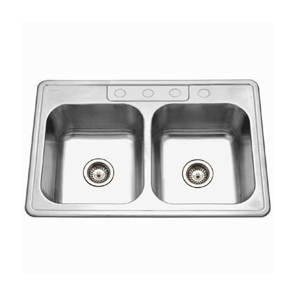 Houzer 3322-9BS4-1 Glowtone Series Topmount Stainless Steel 4-hole 50/50 Double Bowl Kitchen Sink, 9-Inch Deep