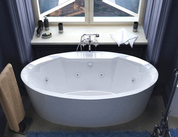 Atlantis Whirlpools Suisse 34 x 68 Oval Freestanding Whirlpool Jetted Bathtub