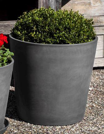 Campania International Recycled Plastic and Ground Stone ECOPOT Round Planter in Grey Urn/Planter Campania International