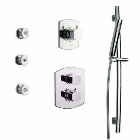 Latoscana Novello Thermostatic Valve Shower System Option 6 In Chrome bathtub and showerhead faucet systems Latoscana