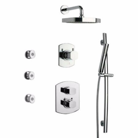Latoscana Novello Thermostatic Valve Shower System Option 7 In Brushed Nickel bathtub and showerhead faucet systems Latoscana