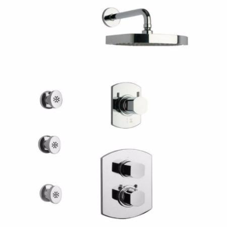 Latoscana Novello Thermostatic Valve Shower System Option 5 In Brushed Nickel bathtub and showerhead faucet systems Latoscana