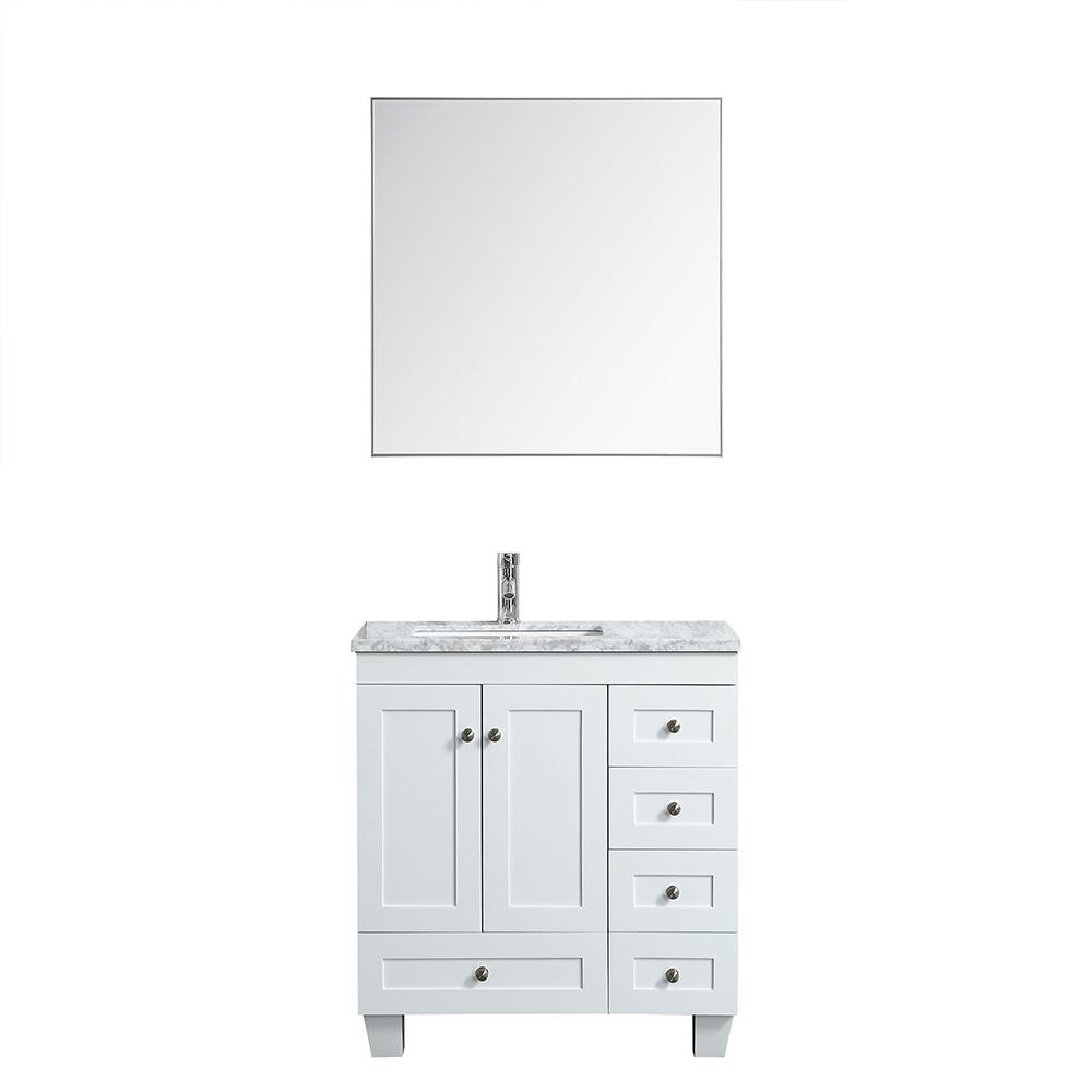 Eviva Happy 28″ x 18″ Transitional Bathroom Vanity w/ White Carrara Top Vanity Eviva White