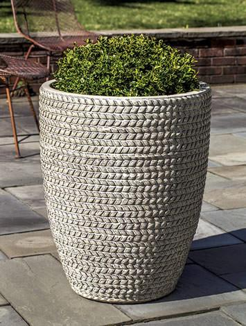 Campania International Glazed Terra cotta Tall Sisal Weave Planter Urn/Planter Campania International