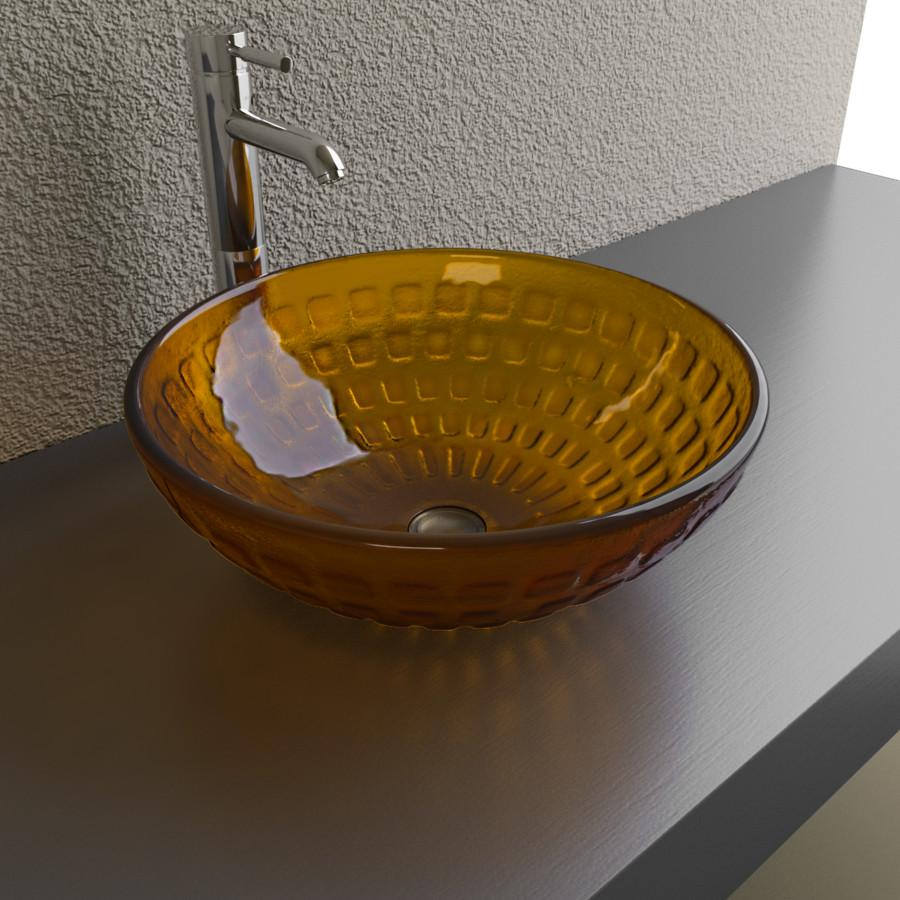 Cantrio Dark orange glass vessel sink with square inlays Glass Series Cantrio