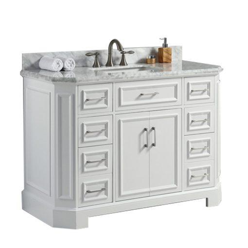 Eviva Glory 48″ Bathroom Vanity with Carrara Marble Counter-top and Porcelain Sink Vanity Eviva White