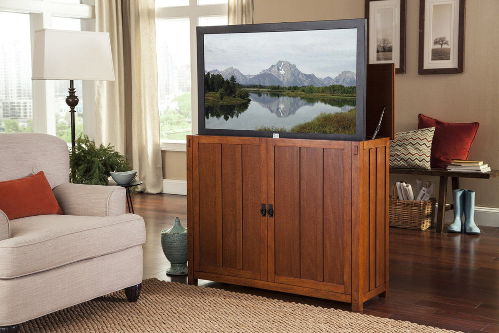 "Touchstone Elevate - Mission Oak Lift Cabinets For Up To 42"" Flat Screen Tv'S Tv Lift Cabinets Touchstone"